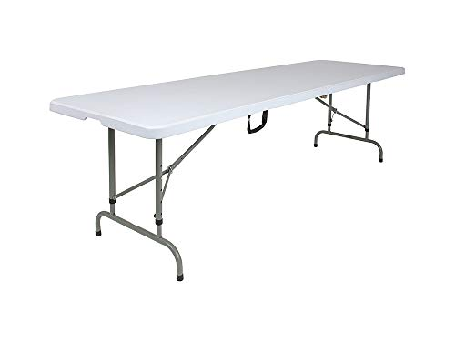 Offex 30''W x 96''L Height Adjustable Bi-Fold Granite White Plastic Rectangular Folding Table ()