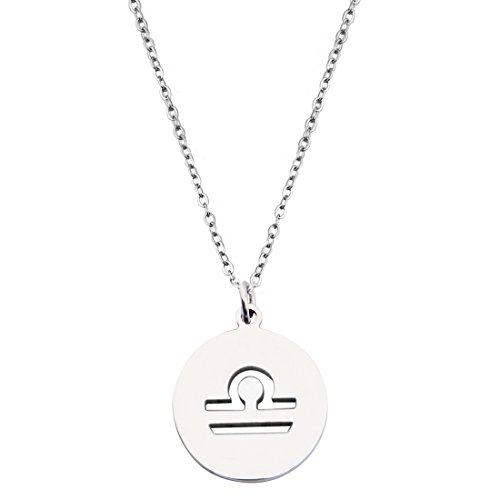 Libra Zodiac Symbols (Zodiac Signs Cut Out Stainless Steel Disc Necklace (Libra))