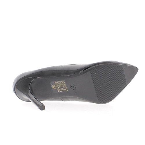 Scarpe nere con punte di 10cm di tacchi sottili sharp aspetto vernice