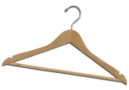 100 NEW Wood/Wooden Beige Pant/Skirt Hangers (Chrome) by Hangers
