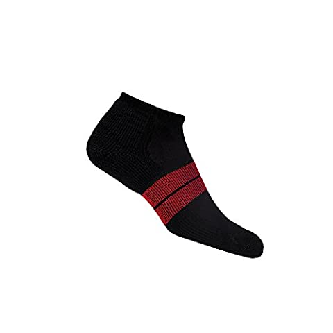 Thorlos 84N Men'S Runner Micro Mini Sock Size: L, Black/Red with a Helicase Sock Ring - 84n Runner
