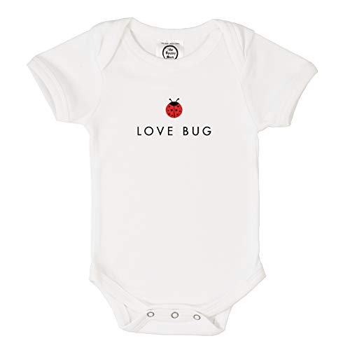 Love Bug Organic Cotton - The Spunky Stork Love Bug Organic Cotton Baby Bodysuit (3-6M) White