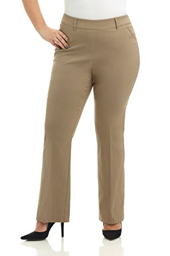 Rekucci Curvy Woman Ease in to Comfort Fit Barely Bootcut Plus Size Pant (20W,Oatmeal)