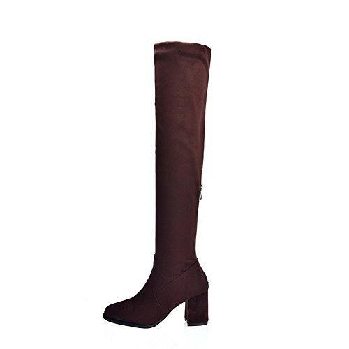 BalaMasa Womens Chunky Heels No-Closure Round-Toe Suede Boots Sorrel d2k2dPbu