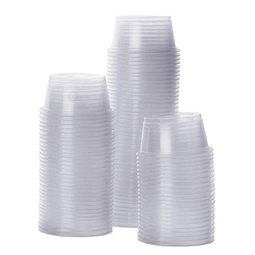 100 Gecko Food and Water Containers --- Reusable, Recyclable, Disposable Cups - Wash, Dry, Reuse - 0.5 oz Capacity Plastic Transparent Dishes - Fits Various Reptile Feeder - 1.6