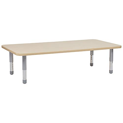 FDP Rectangle Activity School and Classroom Kids Table (30 x 60 inch) Short Silver Floor Legs for Flexible Seating Collaborative Spaces, Adjustable Height 11-16 inches (Maple Top/Maple ()