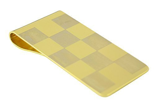 Mens Stainless Steel Money Clip Chess Design in Gold MC-001
