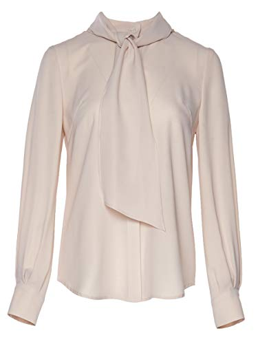 ROEYSHOUSE Women's Long Sleeve Blouse with Detachable Bow Tie Buttoned Down Shirt L Cream ()