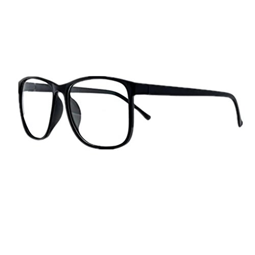 Shiratori Unisex Classic Retro Large-Framed Glasses Plastic Glasses Frame Nerd Glasses Clear Lens Glasses (black) ()
