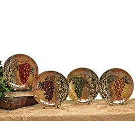 Set Of 4 Decorative Glass Grape Plates With Black Scroll Design Beautiful Tuscan Home Decor  sc 1 st  Amazon.com & Amazon.com: Set Of 4 Decorative Glass Grape Plates With Black Scroll ...