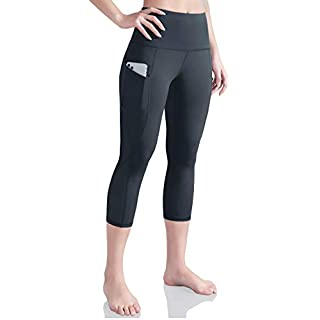 ODODOS Women's High Waist Yoga Capris with Pockets,Tummy Control,Workout Capris Running 4 Way Stretch Yoga Leggings with Pockets,Charcoal,X-Small
