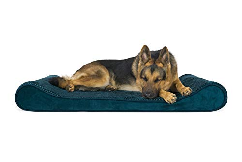 FurHaven Pet Dog Bed | Orthopedic Minky Plush & Velvet Luxe Lounger Pet Bed for Dogs & Cats, Spruce Blue, Jumbo (Renewed)