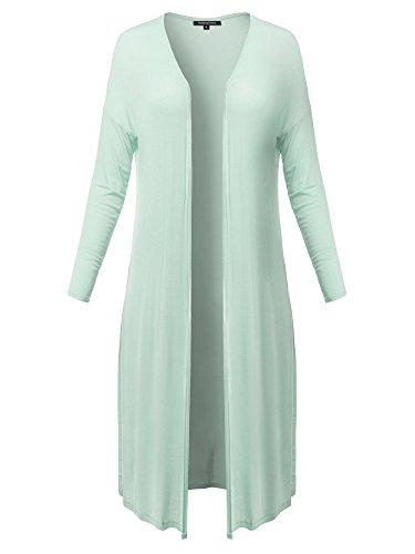Made by Emma Summer Drop Shoulder High Side Slit Light Weight Duster Long Cardigan Mint S