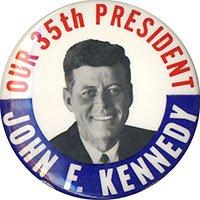 (Pinback button celebrating the inauguration of President John F. Kennedy, 1961. 1.75
