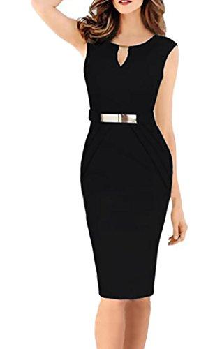 Business Vestiti Donna Pacchetto Sera V Slim Abbigliamento Eleganti  Cerimonia Al Hip Abiti Nero Tubino Da Smanicato Banchetto Colore Chic Abito  Moda ... acd119002b6