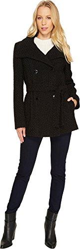 Double Breasted Tweed Coat (Calvin Klein Women's Double Breasted Belted Basket Weave City Tweed Coat CW380102 Black Basket Weave Outerwear)