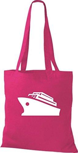JUTA Borsa di stoffa CROCIERA, Nave, Nave passeggeri - rosa, 38 cm x 42 cm