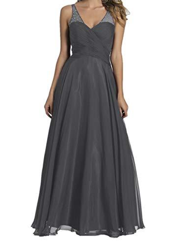 Dunkel Lang Abendkleider Braut Brautjungfernkleider Ausschnitt Grau Marie Promkleider Burgundy V Chiffon La x4Y6wvzq5