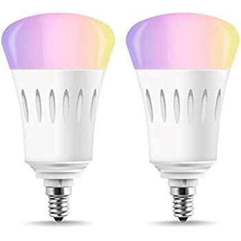 LOHAS E12 Smart Bulb Candelabra Base, A19 LED 60W Equivalent Wifi Control Lights, Multicolor RGB Dimmable LED Bulb, Voice Control, 810 Lumen, ...