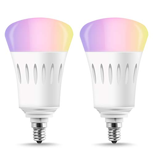 LOHAS LED Smart Bulb E12 Candelabra Base, A19 LED 60W Equivalent Wifi Control Lights, Multicolor RGB Dimmable LED Bulb, Smart-phone Controlled Compatible with Amazon Alexa and Google Assistant, 2PACK