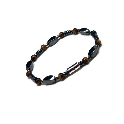Accents Kingdom Men's Magnetic Hematite Tiger's Eye Bead Bracelet, 8.5