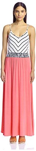 S.H.E. Soul Harmony Energy Women's Combo Maxi Dress, Coral, XS