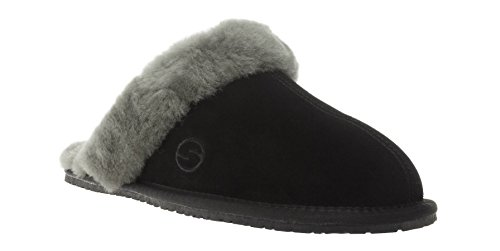 SHEPHY Maya - Zapatillas para mujer, ante y piel de cordero negro