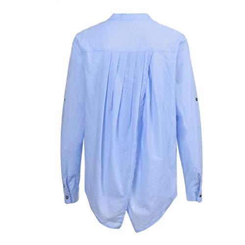 da donna Donna lunga Camicia Felpe maniche a Bluse Shirt Maglie a lunghe cotone da manica camicetta Top Yanhoo T donna cappuccio camicie casual lino con di abbottonata Blu donna in e gSagp