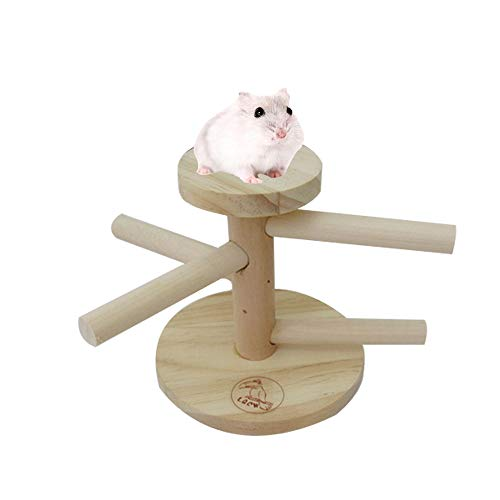 Wooden Hamster Platform Rat Climbing Toy, Small Animal Swing Ladder Standing Perch Toy, Hamster Puzzle Toy for Dwarf Hamster Gerbil Rat Small Animal Cage Accessories.