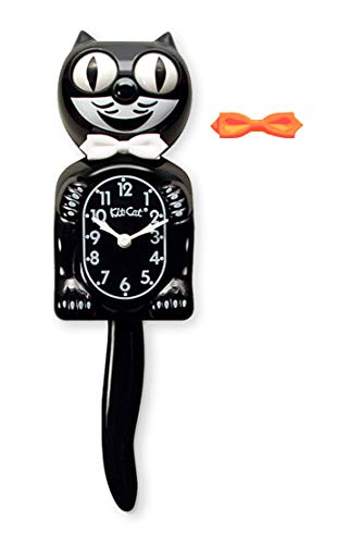 (Kit-Cat Classic Black Clock with White and Orange Bow)
