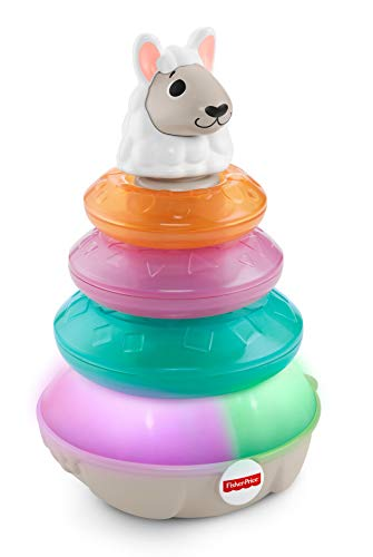 Fisher-Price Linkimals Lights & Colors Llama - Interactive Stacking Ring Toy with Music and Lights for Baby Ages 9 Months & Up