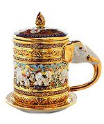 Elephant ear benjarong mug premium Product of Thailand by saim golden