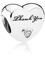 925 Sterling Silver Heart Charm fit Pandora Bracelets Silver Beads (Thank You)