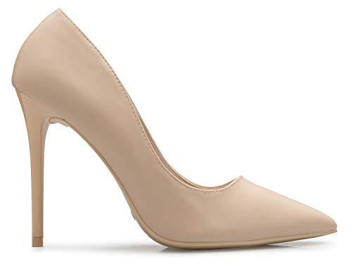 D'Orsay Casual Women's K OLIVIA High Beige Closed Comfortable Pu Toe Heel Classic Pump x6tAtwqa