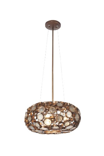 Glass Chandelier Recycled (Varaluz 165C03SHO Fascination 3-Light Oval Pendant - Hammered Ore Finish with Clear Recycled Bottle Glass)