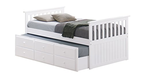 (Broyhill Kids Marco Island Captain's Bed with Trundle Bed and Drawers, Twin, White, Twin-Sized Mattress (Not Included), Bunk Bed Alternative, Great for Sleepovers, Underbed Storage/Organization )