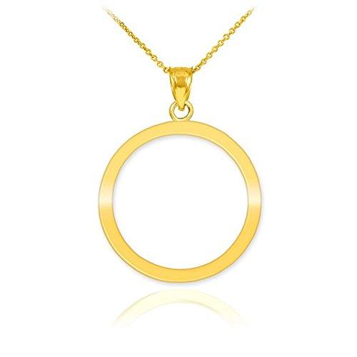 - 10k Yellow Gold Circle of Life Pendant Karma Necklace, 18