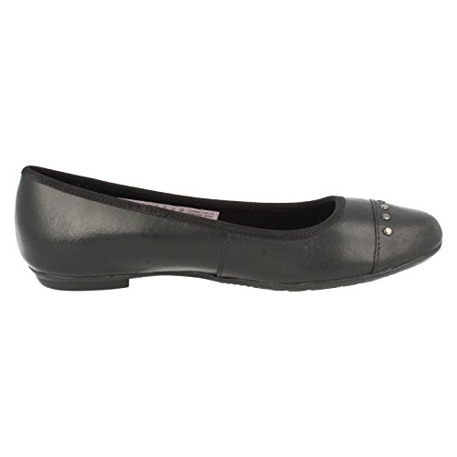 Clarks Tizz Dot Bootleg Mädchenschule Slipper Schuh aus schwarzem Leder Black Leather 3 F