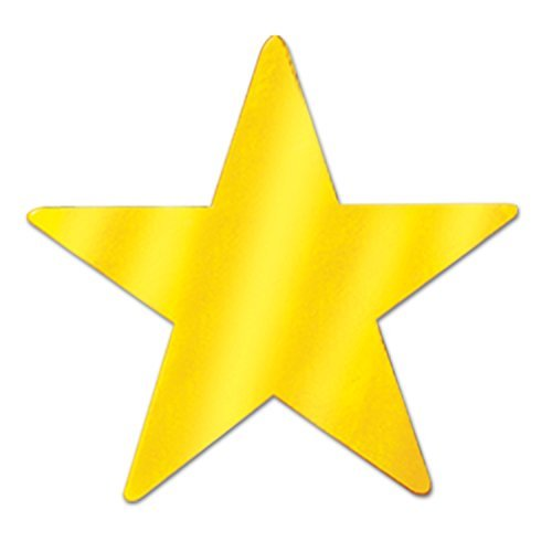 Beistle 57027-GD Gold Metallic Star Cutouts, 3-1/2 Inch (Value 36-Pack)