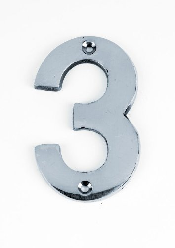"""3/""""//75mm Numeral House Door Number 4 Chrome FOUR"""