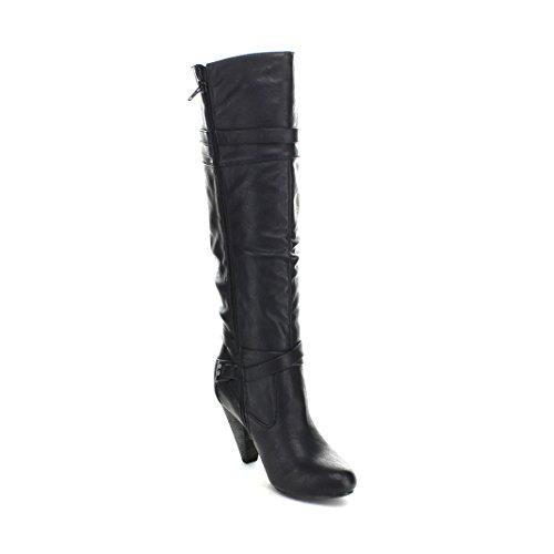 US Knee SNJ 29 Black Merton Diva Slouchy Women's Boot 6 Belt Wild High Riding wq610O