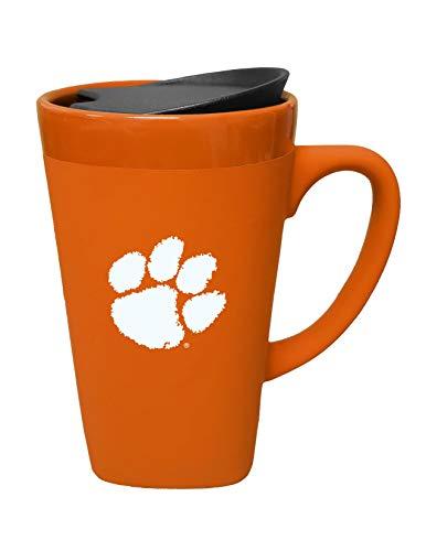 - The Fanatic Group Clemson Ceramic Mug with Swivel Lid, Design-1 - Orange