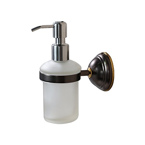 CROWN Bronze Soap & Lotion Dispenser Pump Wall Mount Liquid Hand Soap Dispenser for Kitchen Sink/ Bathroom, Solid Brass, Chrome Pump (8 -