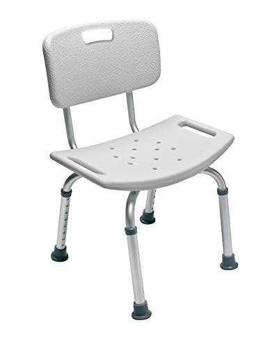 Lumex Platinum Collection Shower and Bath Chair with Backrest and Tool-Free Height Adjustment, 7921R-1