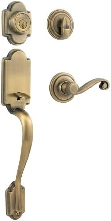 Kwikset Arlington Single Cylinder Handleset w/Lido Lever that includes SmartKey in Antique Brass