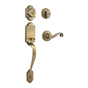 Kwikset Arlington Single Cylinder Handleset w/Lido Lever featuring SmartKey in Antique Brass