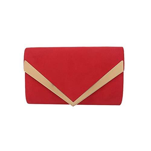 Femme pour Argent Rouge Bordure Métallique Diva pour Pochette Decoration Small Haute 8tvdct