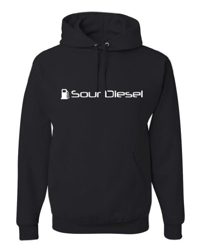 ShirtLoco Men's Sour Diesel Hoodie Sweatshirt, Black Extra Large
