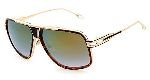 (Flowertree® STY823 Metal Frame Plastic Inset Flat Top Cutout Aviator Sunglasses (C3-leopard+turquoise, 0))