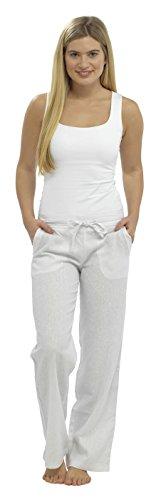 Lin Blanc Pantalon Femmes Femmes Entier Entier xvqO8ISaw